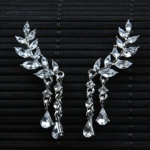 Jewelry - New Gothic rhinestone silver angel wing earrings